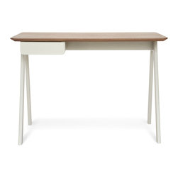 Blu Dot - Blu Dot Stash Desk, Walnut / Grey - Radius edges and wood couple in this elemental desk.  Pencil drawer keeps it tidy and can be assembled to either the left or right side.  Available in graphite-on-ash, walnut / grey or white ash.Walnut or stained ash veneer top, Painted or stained solid ash legs