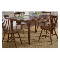 Liberty Furniture - Creations II Dining Table w Butterfly Leaf - Barstools sold separately. One 12 in. butterfly leaf. Butcher block style table top. Comfortably seats up to six. Warranty: One year. Made from select hardwoods. Tobacco finish. Made in Malaysia. Minimum: 54 in. L x 36 in. W x 30 in. H. Maximum: 66 in. L x 36 in. W x 30 in. H (96 lbs.)
