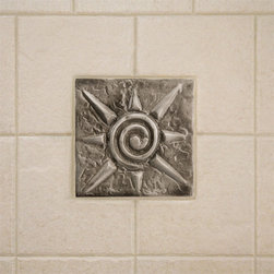 "4"" Aluminum Wall Tile with Sun Design - Brighten up your kitchen or bathroom with this charming aluminum accent tile. Featuring a playful sun design, this wall tile is sure to make a grand focal point for any room."