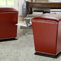 Safavieh Furniture - Mason Bi-cast Leather Ottoman - Set of 2 - Set of 2. Unique tapered design. Transitional footstool. Nailhead trim. Plinth base. Made from sturdy wood and bi-cast leather. No assembly required. 14 in. W x 14 in. D x 20 in. H (21 lbs.)
