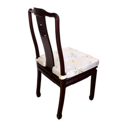 n/a - Oriental Dining Side Chair Made of Solid Rosewood and Hand Carved Long Life Patt - Elegant solid rosewood Oriental side chair. Crafted completely by hand with durable tongue and groove construction. No nails used. Meticulously hand finished to mirror smoothness. A beautiful chair for your Oriental dining room.  Buy yours today. Hand made imports like these sell quickly. 18��x17��x38��H