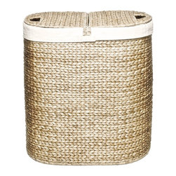 Seville Classics Water Hyacinth Oval Double Hamper, Closed Weave - This hyacinth hamper has two handy compartments and a sleek look that makes it great for leaving out in the open.