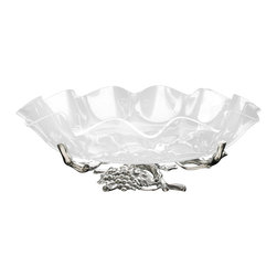 """Arthur Court - Grape Stand w/16"""" Acrylic Bowl - Another shining example of the artistry that is Arthur Court's style. This acrylic bowl sits on a base of sand-cast aluminum that's been hand-polished and buffed to a luminous shine. Best of all, to retain that brilliance, all you'll need is soap and water."""