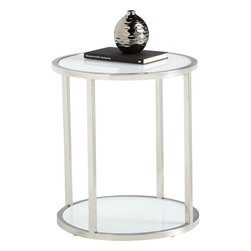 Sunpan - Zane Round End Table, White Glass and Stainless - This stainless steel bi-level round end table features 10mm tempered white glass. Stunning between two accent chairs in a lobby or beside a sofa in a residence. Assembly required.