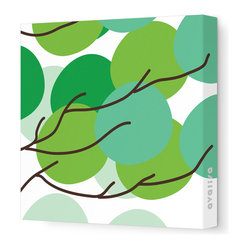 "Avalisa - Imagination - Buds Stretched Wall Art, 12"" x 12"", Green - If florals just feel fussy to you, go for just the suggestion of about-to-bloom blossoms. The simple design and sleek look of stretched, unframed fabric make a clean, clever focal point for your favorite setting."