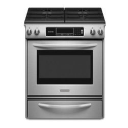 KitchenAid - Architect Series II KGSK901SSS Gas Range with 4 Sealed Burners  4.1 cu. ft.  Sel - The KitchenAid KGSK901SSS 30 in Self-Clean Slide-In gas range with a 41 cu ft capacity oven and front electronic controls with scrolling graphic display features powerful burners that can make cooking for a large crowd easy One 14000 BTU Power burner...