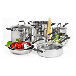 None - Denmark 12-piece Stainless Steel Cookware Set - Add the versatile Denmark 12-piece cookware set to your kitchen,featuring a mirror polished finish. The pieces in this set highlight a tri-ply 18/0 stainless steel construction,with riveted handles and a non-stick surface.