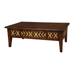 TerraSur - Renzo Coffee Table - Bring a bit of the beach home with this gorgeous, unpretentious hardwood coffee table. The chevrons and diamonds that are woven into a charming pattern on the sides create a pleasing design you'll build your whole living room decor around. How inspiring!