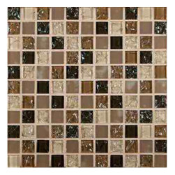MS International - Pacific Dunes Blend 1 in. x 1 in. Glass Mesh-Mounted Mosaic Wall Tile-Sample - The M S International Inc 12 in. x 12 in.Pacific Dunes Blend Mosaic Tile is a contemporary-style mosaic tile. Made of a blend of crystallized, frosted and crackled glass, the tile features slight variations in tone. A blend of beige and brown colors gives this mosaic a neutral template to create various designs and add pizzazz to any project. It is designed for use on walls as is our cut in different sizes, and can be installed inside or outside.
