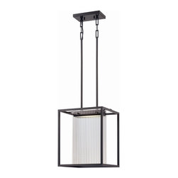 """Satco - Satco Bin Transitional LED Kitchen Island / Billiard Light X-801/26 - Textured black metal supports and ribbed glass panels form handsome wall and ceiling fixtures that deliver soft, diffused light and thoroughly modern energy efficiency. Includes (4) 12"""" and (4) 6"""" rods."""