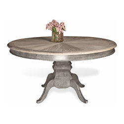 Kathy Kuo Home - Reve French Country Reclaimed Elm Wood Dining Table - Gather around this charming, French Country dining table for comfortable conversation and fine cuisine. Handcrafted from reclaimed elm, each table is a unique work of art. Pedestal design affords ample legroom for lingering guests.