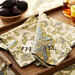"""Sofia Medallion Dinner Napkin, 20"""", Set of 4 - Stylized floral medallions drawn from an antique Persian block print flourish on our Sofia Napkins. With a tracery of metallic gold, they put a sophisticated spin on holiday color. 20"""" square Woven of pure cotton. Set of 4. Monogramming is available for an additional charge. Machine wash. Imported."""