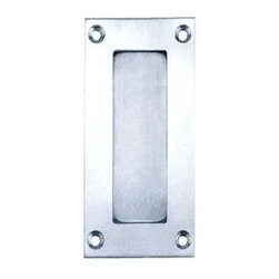 Pocket Door Hardware - This rectangular modern pocket door hardware features brushed satin stainless steel finished with a recessed rectangular smooth inset. Four screw design provides the ultimate in design and functionality.