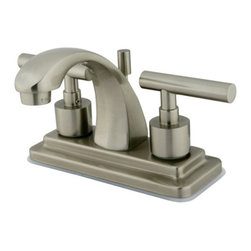 """Kingston Brass - Satin Nickel Two Handle 4"""" Centerset Lavatory Faucet with Brass Pop-up KS4648CML - This faucet features a blend of traditional and contemporary designs that creates an avant-garde look for your decor. This bathroom faucet has a deck mount setup and features a 4"""" centerset installation. The body is fabricated from solid brass for durability and long-lasting use. The color finish is made of satin nickel for its silvery, satin-like cast, as well as resisting scratches, corrosion and tarnishing. The spout has a reach of 4 inches and a height of 5 inches. The handles allow for easy management of water volume and temperature. The faucet operates with a ceramic cartridge valve for droplet-free functionality with the water measured 2.2 GPM (8.3 LPM) and a 60 PSI maximum rate.  An integrated removable aerator is inserted beneath the spout's head piece for conserving water flow.  A brass pop-up drain in a matching finish is included. All mounting hardware is included and standard US plumbing connections are used. A 10-year limited warranty is provided to the original consumer.. Manufacturer: Kingston Brass. Model: KS4648CML. UPC: 663370047183. Product Name: Kingston Brass Manhattan Two Handle 4"""" Centerset Lavatory Faucet with Brass Pop-up. Collection / Series: Manhattan. Finish: Satin Nickel. Theme: Contemporary / Modern. Material: Brass. Type: Faucet. Features: Drip-free ceramic cartridge system"""