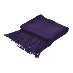 "Pur by Pur Cashmere - Signature Blend Throw Aubergine  50""x65"" With 6"" Fringe - Signature cashmere blend throw 10% cashmere / 80% wool / 10% microfine Dry clean only. Inner mongolia."