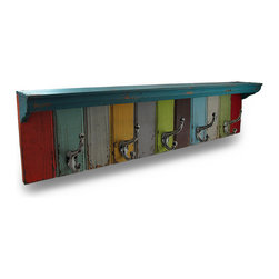 Zeckos - Multicolor 34 3/4 Inch Wood and Metal Weathered Wall Hook Shelf - Show off your favorite knick knacks on this weathered finish multicolor wooden wall shelf with shabby chic cast iron hooks, perfect for hanging anything from coats, hats and jackets to the dog's leash, dried flowers, keys in the entryway or towels in the pool house Amazing in a beach, nautical or underwater themed room, this 38 inch long, 8 1/2inch high, 4 1/2 inch deep wall hanging includes attached keyhole hangers on the back making mounting to any wall easy whether inside your home or on your sheltered porch. It makes a wonderful gift for fans of shabby chic decor