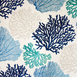 Blue Coral Fabric Aqua Ocean - A coral fabric with blue and aqua coral trees. An interesting ocean coral fabric for those who want something a bit different.