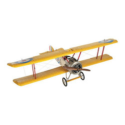 "Sopwith Camel Model Airplane (Large) - The sopwith camel model airplane (large) measures 40.25""L x 59""W x 18""H. Most definitely it's the size. It's BIG. Built with an interesting array of materials. Lightweight frame stretched with fabric. Down to the smallest detail a replica of the original, which was actually only 5.7m long (less than 19 ft.) to begin with. Built by the thousands during the Great War, in many colors and configurations. Our model fits large spaces as well as large personalities (of which there is no shortage in this world!). Pair it with propellers, old maps, a pilot's desk."
