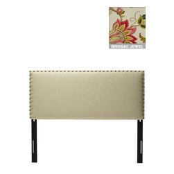 Home Decorators Collection - Custom Rowan Upholstered Headboard - An elegant line of bold nailheads marks off the square profile of our Custom Rowan Upholstered Headboard. Widely spaced, the nail buttons give this custom upholstered headboard a finished look. You choose the fabric to make this American-made fabric headboard your own. Includes nailhead trim. Includes hardware to attach to most standard bed frames. Assembled in the USA. Made to order and delivered in 4-6 weeks. Spot clean only.