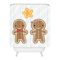 DENY Designs - DENY Designs Marceline Smith Cookie Couple Shower Curtain - Who says bathrooms can't be fun? To get the most bang for your buck, start with an artistic, inventive shower curtain. We've got endless options that will really make your bathroom pop. Heck, your guests may start spending a little extra time in there because of it!