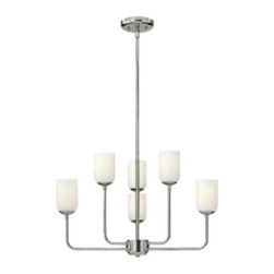 Hinkley - Hinkley 4216PN Harlow 6 Light Chandelier in Polished Nickel 4216PN - Harlow's chic design is inspired by glamorous retro styling. The etched opal glass shade sits atop delicately bent, elongated arms in a Polished Nickel finish that transition to a cast oval step and onto a soft round splice compartment.ADA Compliant: No Bulb Type: Incandescent Canopy diameter: 5-1 4 Collection: Harlow Crystal: No Energy Star Compliant: No Finish: Polished Nickel Glass: Opal Etched Height: 15 Leadwire: 120 Material: Metal Number of Lights: 6 Socket 1 Base: MEDIUM Socket 1 Max Wattage: 60 Style: Transitional Voltage: 120 Wattage: 60 Weight: 12 Width: 25