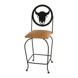 "Grace Collection - Frontier Wrought Iron Swivel-24"" or 30"" Stool - Choose Seat Height: 24 in.Whether you pick buffalo, cowboy or steer as you seat back, or even go with the sheriff seat back, you will love the unique western detailing of this barstool.  Available in your choice of heights, quality upholstered fabric finishes and rich metal finishes, this quality constructed wrought iron barstool is highly customizable for your Wild West seating. * 4 unique western back cut-outs. Non-Marring foot glides. Warranty on Welds. Shown w/ Cowboy Silhouette Back & a satin black Metal Finish. In 24"" counter stools, 30"" barstools."