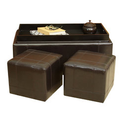 Five Brooks Espresso Leather Ottoman Set