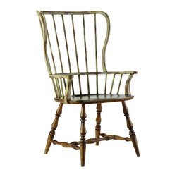 Hooker Furniture - Spindle Back Arm Chair - Drift and Dune - If you have an eclectic style, you'll embrace these spindle back armchairs. Part Early American and part beach vibe, they will definitely become your favorite chairs to pull up to the table and spend some time in.