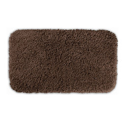 None - Serenity Chocolate 30x50 Bath Rug - Luxuriate in the deep pile of the Serenity bath and spa collection. The brown rug is created from durable, machine-washable nylon and features non-skid latex backing for safety.