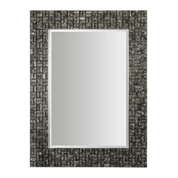 Uttermost Allaro Mosaic Mirror - Mosaic black glass tiles with hints of warm ivory accented with silver inner and outer frame edges. Mosaic black glass tiles with hints of warm ivory create the inner frame while the inner and outer frame edges are trimmed in silver. Mirror is beveled. May be hung horizontal or vertical.