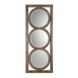 "Uttermost - Uttermost 13533 B Isandro Metal Mirror - 71"" Length - Silver Undertones w/ Black Gray Wash and Burnished Edges"
