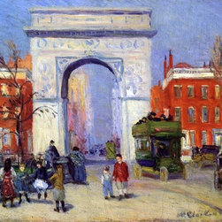 """William James Glackens Washington Square Park  Print - 16"""" x 20"""" William James Glackens Washington Square Park premium archival print reproduced to meet museum quality standards. Our museum quality archival prints are produced using high-precision print technology for a more accurate reproduction printed on high quality, heavyweight matte presentation paper with fade-resistant, archival inks. Our progressive business model allows us to offer works of art to you at the best wholesale pricing, significantly less than art gallery prices, affordable to all. This line of artwork is produced with extra white border space (if you choose to have it framed, for your framer to work with to frame properly or utilize a larger mat and/or frame).  We present a comprehensive collection of exceptional art reproductions byWilliam James Glackens."""