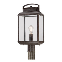 Quoizel - Quoizel BRN9010IB Byron Outdoor Post Fixture - This fixture gives the exterior of your home both beauty and an exclusive sense of style.  It features a vintage bulb for a historic look and is enhanced by the copperhued plate directly behind it.  The clear beveled glass and the Imperial Bronze finish complete the look.