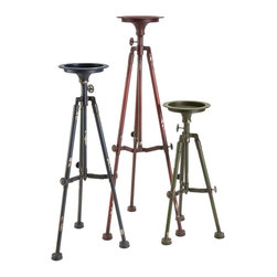 Imax - iMax Sparks Tripod Candle Holder - Set of 3 X-3-45147 - Spark conversation with this set of three industrial inspired tripod candleholders, each in a deep blue, red and green finish. Holds pillar candles.