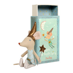 Maileg - Mouse Tooth Fairy In A Box, Boy - The cutest Tooth Fairy Mouse in the world now comes with a Maileg Match Box!