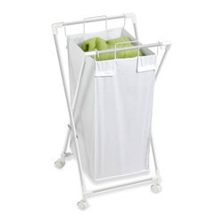 Single Folding Hamper With Removable Bag - Honey-Can-Do HMP-01385 Folding Laundry Hamper With Removable Bag, White. Doing the laundry becomes less of a chore with this useful and contemporary tool for organizing and transporting your garments. Removable cloth hamper easily detaches from the white metal frame for a portable laundry bag in an instant. Keep clothes off of the floor and your space neat and clean with this 2-in-1 hamper/laundry bag.