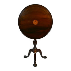 Lavish Shoestring - Consigned Circular Mahogany Tilt Top Tripod Table, Vintage English, Early 1900s - This is a vintage one-of-a-kind item.