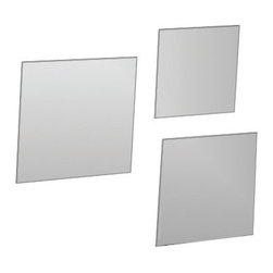 "Set of 3 Square Mirrors Diameter 6.3 + 7.5 + 8.2-Inch - This set of 3 adhesive square mirrors for bathrooms will add an elegant ambiance to any room and contains 3 mirrors of different sizes. Fast and easy, you just have to position the adhesives on the back of the mirrors and stick them on the wall or tile wall. Now you can give an ordinary room a ""designer's touch"" in minutes with these lightweight mirrors. This set includes 3 pieces, dimensions are 6.3x6.3 + 7.5x7.5 + 8.2x8.2-Inch and thickness 0.08-Inch. Only apply, peel and stick mirrors to smooth, clean, and fully cured painted surfaces. Do not apply, peel and stick mirrors to fresh paint, or to delicate surfaces like fabric and wallpaper. Clean with warm soapy water. Clever and practical, this set of adhesive square glass mirrors will give your bathroom a modern and elegant style! Complete your decoration with other products of the same collection. Imported."