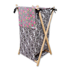 "Trend Lab - Hamper Set - Zahara - The Zahara Hamper by Trend Lab is a decorative solution for quick clean up. The cotton percale zebra print body and stripe and floral print outer flap easily attaches to the collapsible pine wood frame. The fashionable color palette of black, white, paradise pink and electric lime make this hamper suitable for any room of the house. Machine washable inner mesh liner is removable making the transport of laundry effortless. Assembled hamper measures 27"" x 15"" x 15"". This hamper coordinates with the Zahara collection."