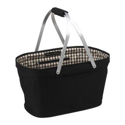 London Collapsible Market and Picnic Basket - Modify the experience of fun outings or trips to the market, with the London Collapsible Market and Picnic Basket. It's covered in durable 600D polycanvas material. Designed in the U.S., this stylish tote can also provide additional storage space at home. Built-in permanent aluminum supports enable it to stand upright or fold down, allowing you to conveniently put it away when not in use. The aluminum handles with padded grip make it comfortable to carry. There's also an inner zip pocket and a front pocket.About Picnic at AscotDay or evening, beachside or backyard, picnics are a favorite event. By introducing Americans to the British tradition of upmarket picnics over a decade ago, Picnic at Ascot created a niche for picnic products combining British sophistication with an American fervor for excitement and exploration. Known as an industry leader in the outdoor gift market, Picnic at Ascot houses a design staff dedicated to preserving the prized designs and premium craftsmanship signature to the company. Their exclusive products are carried only by selective merchants. Picnic at Ascot provides quality products that meet the demands of today, yet reflect classic picnic style.