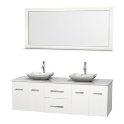 """Wyndham Collection - Centra 72"""" White Double Vanity, White Man-Made Stone Top, Carrera Marble Sinks - Simplicity and elegance combine in the perfect lines of the Centra vanity by the Wyndham Collection. If cutting-edge contemporary design is your style then the Centra vanity is for you - modern, chic and built to last a lifetime. Available with green glass, pure white man-made stone, ivory marble or white carrera marble counters, with stunning vessel or undermount sink(s) and matching mirror(s). Featuring soft close door hinges, drawer glides, and meticulously finished with brushed chrome hardware. The attention to detail on this beautiful vanity is second to none."""