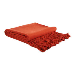 "Pur by Pur Cashmere - Signature Blend Throw Poppy Red 50""x65"" With 6"" Fringe - Bamboo velvet throw. 100%  bamboo.  Dry clean only. Inner mongolia."