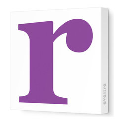 """Avalisa - Letter - Lower Case 'r' Stretched Wall Art, 12"""" x 12"""", Purple - Spell it out loud. These lowercase letters on stretched canvas would look wonderful in a nursery touting your little one's name, but don't stop there; they could work most anywhere in the home you'd like to add some playful text to the walls. Mix and match colors for a truly fun feel or stick to one color for a more uniform look."""