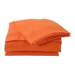 "Honeymoon - Honeymoon Embroidery 6PC Bedding Sheet Set, Deep Pockets, Easy Care, Orange - Queen Size 6pc Set - Flat Sheet 102""*90"", Fitted Sheet 80""*60"",4 Pillowcases 20""*30"";"