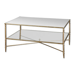 Uttermost - Uttermost Henzler Mirror Top Coffee Table w/ Iron Frame & Glass Shelf - Mirror Top Coffee Table w/ Iron Frame & Glass Shelf belongs to Henzler Collection by Uttermost Finished in gold leaf with heavy antiquing on iron frame and iron cross stretchers. Top is reinforced mirror and gallery shelf is clear tempered glass. Coffee Table (1)