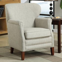 Emerald Home Erika Accent Chair - Natural - With a natural 100% linen seat, the Emerald Erika Accent Chair - Natural rests on a solid wood frame. Its designed to cradle your body in comfort with its curvaceous body design. No-sag springs in its loose seat and sturdy wooden legs aid longevity. In order to suit your style sensibility, its available in different color options. The attractive nailhead trim detail complements its hue making it blend easily into most décor styles.About Emerald Home FurnishingsFounded in 1962, Emerald Home Furnishings supplies to home furniture retailer throughout the United States, Canada, Mexico, Australia, Japan, Taiwan, England, and other countries. The company originally started as a distributor of bed frames and furniture, and, over the years, has added a number of high-quality items to its product line. The company's mission is to strive for innovation, integrity, and excellent service.