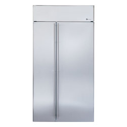 """GE Monogram - GE Monogram® 42"""" Built-In Side-by-Side Refrigerator - Monogram built-in side-by-side refrigerators are among the largest-capacity built-in refrigerators available. Like commercial refrigerators, Monogram built-in side-by-side refrigerators use an overhead evaporator system. This allows independent cooling of the freezer and fresh food compartments—giving you greater temperature control, while eliminating the transfer of moist air and food odors."""