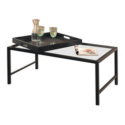 Homelegance - Homelegance Watsonville 3 Piece Coffee Table Set in Black Metal - The multifunctional Watsonville collection provides the ultimate conversation piece for your contemporary home. Serving trays slide, or can be completely removed, for convenient placement or for serving needs. black metal framing provides the support structure for the glass table tops.