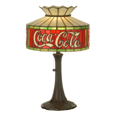 "Meyda Tiffany - Meyda Tiffany Antique Reproductions Table Lamp in Tiffany Items - Shown in picture: Coca-Cola Accent Lamp; One Of The Most Recognizable And Iconic Symbols Of Our Time ""Coca - Cola"" A True American Original Has Teamed Up With Another True American Original ""Meyda Tiffany"" To Offer These Beautiful One Of A Kind Stained Glass Table Lamps."