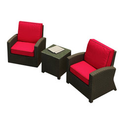 Forever Patio - Barbados 3 Piece Modern Patio Chat Set, Flagship Ruby Cushions - Get ready to chat for hours. You won't want to leave this patio set except to replenish food and drink. The beautiful club chairs are so comfortable you won't believe how tough they are. The cushions are sun and mildew resistant and the wicker is treated to virtually repel dirt. You were saying?